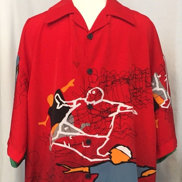 Mens Large Red Graphic Skate Urban Button Down
